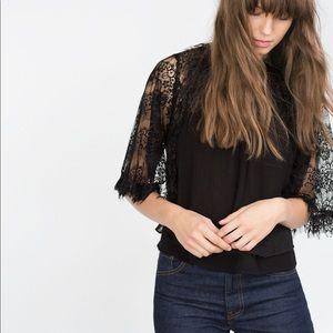 Zara babydoll lace blouse xs